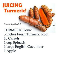 Quick raw juice recipe w/ turmeric Healthy Juice Recipes, Juicer Recipes, Healthy Juices, Healthy Drinks, Healthy Eating, Healthy Food, Healthy Shakes, Yummy Drinks, Vegetarian Recipes