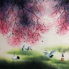 Four Seasons Cranes Watercolor Painting
