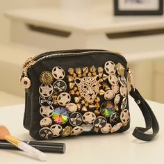 Free shipping 2013 women's fashion & vintage punk leopard head day clutch button chain bag shoulder bags