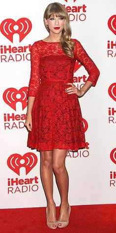 Taylor Swift's red lace French Connection dress would be cute dressed up or down. http://www.peoplestylewatch.com/people/stylewatch/gallery/0,,20632605,00.html#