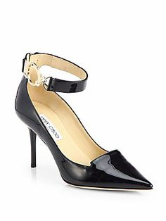 Such great detail. Jimmy Choo Dusk Patent Leather Ankle-Strap Pumps