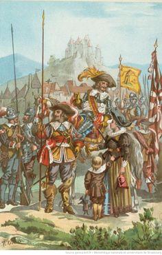 Officier portant l'esponton et l'écharpe de la Milice Urbaine de la République de Strasbourg, pendant la période française de la guerre de Trente ans, Henri de Ganier-Tanconville, C. Frœreisen (Epinal), 1882