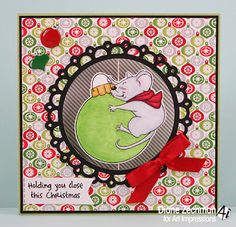 Art Impressions Rubber Stamps: Ai Mouse Spinner (4674) and Mouse Spinner Dies (4693).  ...handmade Christmas card.
