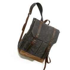 Handmade Canvas Leather Backpack Men Travel Backpack School Backpacks Rucksack Backpack, Travel Backpack, Messenger Bag, Leather Backpack For Men, Back To School Backpacks, Tartan Pattern, Everyday Bag, Canvas Leather, Cowhide Leather