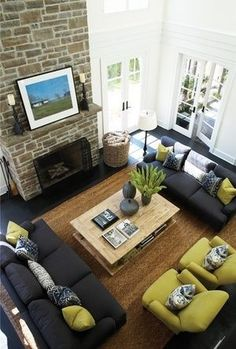 Furniture Layout Ideas : Balance and Symmetry - Kylie M Interiors. Learn how to create a furniture layout. Love this living room with gray couches, jute rug and green chartreuse chairs. FurnitureLayout LivingRoomIdeas Fireplace - My Interior Design Ideas Living Room Furniture Layout, Living Room Furniture Arrangement, Living Room Designs, Family Room Furniture, Living Room Decorating Ideas, Arranging Furniture, Living Room Green, New Living Room, My New Room