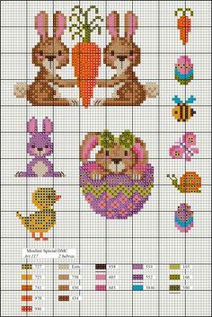 Easter perler bead patterns by clara Dmc Cross Stitch, Small Cross Stitch, Cross Stitch Boards, Cute Cross Stitch, Cross Stitch Animals, Cross Stitch Designs, Cross Stitching, Cross Stitch Embroidery, Cross Stitch Patterns