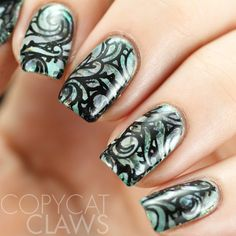 Copycat Claws: UberChic Beauty Collection 10 Review. I love this Mani with the swirl designs. You can make so many amazing looks with nail stamps.  #UberChicBeauty #UberChic #nails #nailart #nailaddict