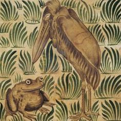 The Frogs Who Desired a King - A tile design by William de Morgan, 1872 (Victori. - The Frogs Who Desired a King – A tile design by William de Morgan, 1872 (Victoria & Albert Museum - Art Nouveau, Brown Art, Arts And Crafts Movement, Tile Art, Tile Painting, Victoria And Albert Museum, William Morris, Tile Design, Amazing Art