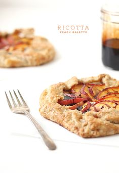 Ricotta Peach Galette with Maple Balsamic Glaze via The Faux Martha