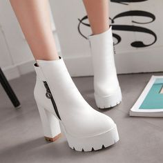 Side Zipper Decorate Platform High Chunky Heel Short Boots