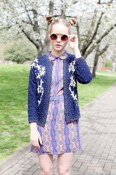 Vintage Sequin Cardigan, cute dress, buns