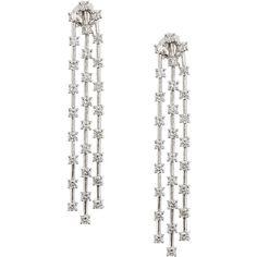 Neiman Marcus Diamonds 14k Triple-Strand Dangling Diamond Drop... (8 624 950 LBP) ❤ liked on Polyvore featuring jewelry, earrings, long dangle earrings, diamond earrings, diamond dangle earrings, long drop earrings and post drop earrings