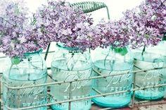 Vintage Aqua Blue Mason Jars |