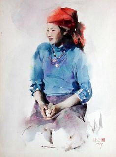 Художник Guan Weixing. Акварели.