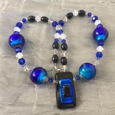 Royal blue art glass pendant necklace Sparkling dichroic glass