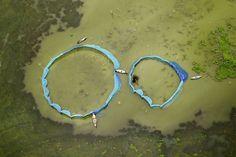 Hermosas tomas de bangladesh fotografía aerea pescadores