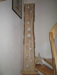 Nr.21 Eiche, Holzbrett Eiche, 13 Sterne, 38cm x 3cm x 223cm Sternbrett, Stern