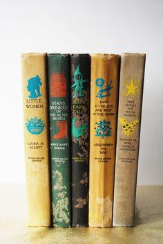 Vintage Illustrated Children's Books - Antique Books, Classic Novel, 1950s Illustration, Fairy Tales, Little Women, Grimm via Etsy.