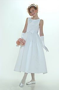 Flower Girl Dresses -Flower Girl Dress Style 547-White or Ivory Sleeveless Bridal Style All Satin Dress With Box Pleated