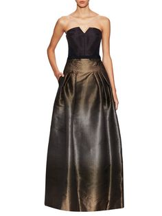 Metallic Silk Strapless Gown by Carolina Herrera at Gilt