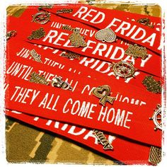 Red Friday Military Name Tape Bracelets #navywife