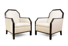 Pair of French Art Deco Mahogany and Leather Chairs Art Deco Chair, Art Deco Furniture, Retro Furniture, Antique Furniture, Antique Armchairs, Comfortable Accent Chairs, Room London, Sofa Seats, Art Deco Design