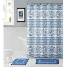 VCNY Twilight Bathroom 15 Piece Set Bath Rugs, Shower Curtain and Rings, Blue Medallion Floral Curtain Patterns, Shower Curtain Hooks, Laundry In Bathroom, Bathroom Curtains, Shower Curtains, Bathroom Colors, Bath Rugs, Bed & Bath, Bathroom Furniture
