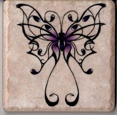 Fancy Purple Butterfly on 4 in x 4 in Stone Tile Wall Art Decor Coaster on Handmade Artists' Shop Purple Butterfly, Butterfly Art, Butterflies, Butterfly Stencil, Tattoo Hals, Henna, Tile Crafts, Metal Tree Wall Art, Back Tattoo