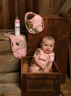 Pink Realtree Camo Baby Clothes for a Baby Girl Rustic Hunting Portrait