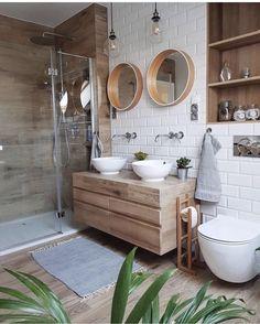 Helpful design of bright bathroom ideas 18 - small bathroom - Interior Design Wooden Bathroom, Bright Bathroom, House Styles, Bathroom Inspiration, Bathroom Decor, Big Bathrooms, Bathrooms Remodel, House Interior, Wooden Vanity Unit