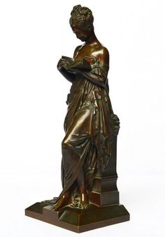 Original Bronze Skulptur signiert A. Carrier-Beleuse lesende Schönheit H. 39cm
