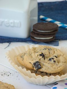 Cookies and cream cookies, think of Oreos instead of chocolate chips!