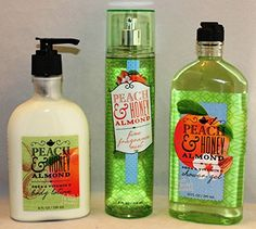 Peach  Honey Almond Body Lotion Shower Gel  Mist Set of Three -- Learn more by visiting the image link.