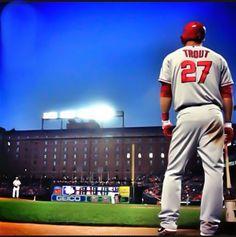 Mike Trout In Camden Yards Angels Baseball Baseball Boys Baseball Photos Softball