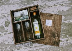 Brown Wine and Print Box for with enough space for 4x6 prints and usb drive (2 wine glasses included in the box)