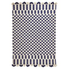 Navy/Ivory Zig Cotton Dhurrie Rug | Serena & Lily