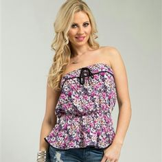 Flower top Adorable lightweight and perfect for summer lilac flower strapless ruffled top. Beautiful bright colors! Tops