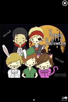 One direction cartoons lol happy early halloween!