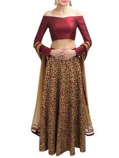b01b615e21 Buy Khantil red georgette Online, , LimeRoad Off Shoulder Lehenga, Designer  Anarkali, Designer