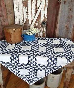 """Antique c1880 Indigo Blue & White Primitive Crib Table QUILT 47x41"""""""