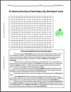 St. Patrick and the Story of Saint Paddy's Day - Free Printable Story Word Search Puzzle