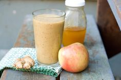 Apple Ginger Smoothie |  I want to be clear that I am not making any medical/scientific claims about this recipe. But here's what I do have: The tangy, fruity flavors woke up my groggy senses and the ginger was soothing on my sore throat. This thing has almost 200% of the daily value of Vitamin C – I counted.