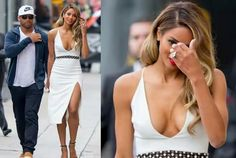 Ciara is gorgeous in plunging dress as she leaves studio with Russell Wilson