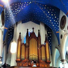 St Simon and St Jude Church organ and ceiling, Tignish Prince Edward Island