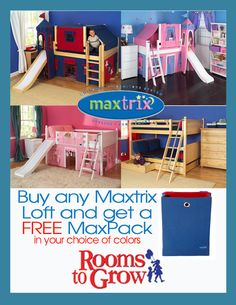 RTG Special: Free Maxpack  with any Loft or Bunk bed purchase.  Sale ends 11/11 www.roomstogrow.com