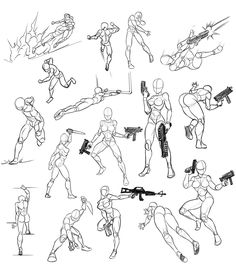 Ideas for drawing poses gun Action Pose Reference, Art Reference Poses, Anatomy Reference, Figure Sketching, Figure Drawing Reference, Drawing Sketches, Art Drawings, Body Sketches, Drawing Tips