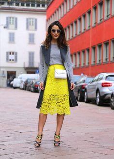 Bright yellow lace skirt _ Milan Fashion Week AW15 #StreetStyle