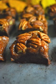 Chocolate Pumpkin Pecan Fudge - three beans on a string paleo dessert thanksgiving Paleo Dessert, Healthy Sweets, Vegan Desserts, Delicious Desserts, Dessert Recipes, Yummy Food, Pumpkin Recipes, Paleo Recipes, Whole Food Recipes