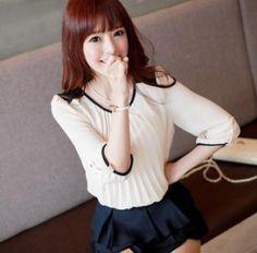 Korean Style Color Block Pleated Chiffon Blouse Beige Chiffon Tops, Korean Fashion, Ruffle Blouse, Fancy, Beige, Womens Fashion, Korean Style, Color, Dresses