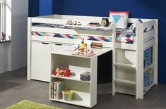 make the most out of a small bedroom for a child Desk Shelves, Small Shelves, Bookshelves, Bookcase, Shelf, Cabin Bed With Desk, Cabin Beds For Kids, Pine Desk, Mid Sleeper Bed